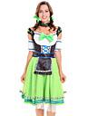 Karnival Oktoberfest Dirndl Trachtenkleider Dam Klänning Ärmar Huvudbonad Bavarian Kostym Grön / Slips / Slips