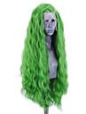 Syntetiska snörning framifrån Vågigt Sidodel Spetsfront Peruk Lång Grön Syntetiskt hår 20-26 tum Dam Justerbar Värmetåligt Party Grön