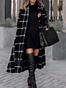 Women\'s Daily Fall & Winter Long Trench Coat, Plaid Rolled collar Long Sleeve Polyester Black