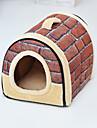 Hund Kaniner Katt Sängar Cuddle Cave Bed Mattor & Dynor Tyg Plysch Mjuk Tvättbar Viker Enfärgad Blomma Stjärnor Brun Grön Röd