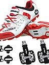 SIDEBIKE Vuxna Cykelskor med pedaler och klossar MTB-skor Nylon Andningsfunktion Anti-halk Stötdämpande Cykelsport Röd och vit Herr Cykelskor / Auto lås / Syntetiskt Microfiber PU / Andningsbart Nät