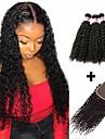 3 paket med stängning Brasilianskt hår Kinky Curly Äkta hår Obehandlat Mänsligt hår Huvudbonad Human Hår vävar bunt hår 8-20 tum Naurlig färg Hårförlängning av äkta hår Heta Försäljning Mode Tjock