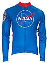 21Grams Amerikanska / USA NASA Herr Långärmad Cykeltröja - Röd+Blå Cykel Överdelar UV-resistent Andningsfunktion Fuktabsorberande sporter Terylen Bergscykling Vägcykling Kläder / Microelastisk