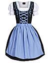 Karnival Oktoberfest Dirndl Trachtenkleider Dam Klänning Bavarian Kostym Ljusblå