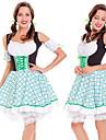 Karnival Oktoberfest Dirndl Trachtenkleider Dam Klänning Rosett Bavarian Kostym Grön