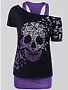 Women\'s Halloween Basic Plus Size Tank Top - Skull Print Off Shoulder Purple