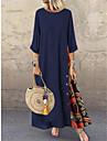 Women\'s Swing Dress Maxi long Dress Red Yellow Wine Army Green Navy Blue Gray 3/4 Length Sleeve Print Print Spring & Summer Round Neck Hot Casual vacation dresses 2021 L XL XXL 3XL 4XL 5XL