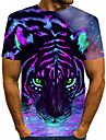 Men\'s T shirt Shirt Graphic 3D Animal Print Short Sleeve Casual Tops Streetwear Exaggerated Round Neck Purple / Summer