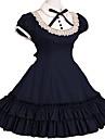Piguniform Prinsessa Gothic Lolita Skol-Lolita Veckad Klänningar Dam Flickor Spets Cotton Japanska Cosplay-kostymer Röd / Blå / Rosa Vintage Holk Kortärmad Knälång / Gotisk Lolita