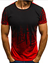 Men\'s T-shirt Graphic Short Sleeve Tops Round Neck Red Green Gray