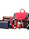 Dam Dragkedja PU bag set Färgblock 4 st handväska Svart / Brun / Rubinrött
