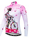 21Grams Floral Botanical Women\'s Long Sleeve Cycling Jersey - Pink Bike Jersey Top UV Resistant Breathable Quick Dry Sports Winter Elastane Terylene Polyester Taffeta Mountain Bike MTB Road Bike