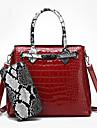 Dam Dragkedja Lackläder bag set Färgblock 2 st handväska Svart / Brun / Purpur / Ormskinn