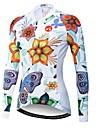 21Grams Floral Botanical Women\'s Long Sleeve Cycling Jersey - White Bike Jersey Top UV Resistant Breathable Quick Dry Sports Winter Elastane Terylene Polyester Taffeta Mountain Bike MTB Road Bike