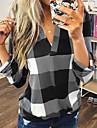 여성용 블라우스 셔츠 체크무늬 체크 컬러 블럭 긴 소매 V 넥 탑스 푸른 퍼플 루비