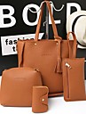 Dam PU bag set Väskor Enfärgad 4 st handväska Svart / Brun / Rodnande Rosa