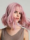 Syntetiska peruker Kroppsvågor Bouncy Curl Bob-frisyr Asymmetrisk frisyr Rak lugg Peruk Rosa Medium längd Rosa Syntetiskt hår 12 tum Dam Liv syntetisk Naturlig hårlinje Rosa HAIR CUBE