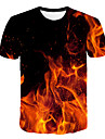Men\'s T shirt Shirt Graphic Flame Print Short Sleeve Club Tops Streetwear Exaggerated Round Neck Blue Fuchsia Orange / Summer / Beach