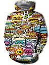 בגדי ריקוד גברים מידות גדולות קפוצ\'ון קשת קולור בלוק 3D עם קפוצ\'ון יום יומי סגנון רחוב קפוצ\'ונים חולצות טריקו קשת