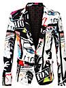 男性用 パーティー 祝日 独身男性の集い 抽象的 / 3D レギュラー ポリエステル 男性用 スーツ ホワイト - ノッチドラペル / プリント