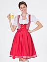 Oktoberfest Dirndl Trachtenkleider Dam Klänning Bavarian Kostym Röd