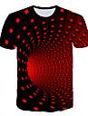 בגדי ריקוד גברים חולצה קצרה הדפסת תלת מימד גראפי הדפסת 3D 3D דפוס שרוולים קצרים ליציאה צמרות בסיסי סגנון רחוב צווארון עגול סגול צהוב תלתן / קיץ