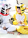 Barn Kigurumi-pyjamas Katt Tiger Onesie-pyjamas Flanell Gul / Grå Cosplay För Pojkar och flickor Pyjamas med djur Tecknad serie Festival / högtid Kostymer