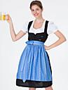 Oktoberfest Dirndl Trachtenkleider Dam Klänning Bavarian Kostym Blå Grön Rubinrött