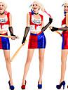 Harley Quinn Kjolar Cosplay Kostymer / Dräkter Handskar Maskerad Vuxna Dam Cosplay Halloween Halloween Festival / högtid Cotton Polyster Rubinrött Dam Karnival Kostymer / Topp / Slips