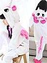 Barn Kigurumi-pyjamas Unicorn Katt Tiger Onesie-pyjamas Flanell Svart / Vit / Vit / Gul Cosplay För Pojkar och flickor Pyjamas med djur Tecknad serie Festival / högtid Kostymer