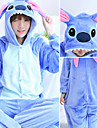 Adulto Pijamas Kigurumi Desenhos Animados Blue Monster Pijamas Macacao Flanela Azul / Rosa claro Cosplay Para Homens e Mulheres Pijamas Animais desenho animado Festival / Celebracao Fantasias