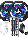KWB 2x5M Flexible LED Light Strips / Light Sets / Remote Controls 600 LEDs 3528 SMD 8mm 1 X 12V 3A Power Supply RGB Cuttable / Color Gradient 12 V 1 set