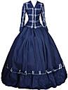 Prinsessa Rokoko Victoriansk Klänningar Festklädsel Kostym Dam Cotton Kostym Bläck blå Vintage Cosplay Maskerad Fest / afton Långärmad Golvlång Lång längd Plusstorlekar