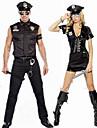 Polis Cosplay Kostymer / Dräkter Maskerad Vuxna Par Cosplay Halloween Halloween Festival / högtid Polyster Svart / Blåsvart Par Karnival Kostymer