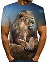 Hombre Tee Camiseta Camisa Impresion 3D Grafico 3D Leon Animal Estampado Manga Corta Diario Tops Retro Roca Escote Redondo Amarillo Negro Marron / Verano