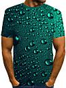 בגדי ריקוד גברים חולצה קצרה חולצה הדפסת תלת מימד גראפי בירה דפוס שרוולים קצרים יומי צמרות סגנון רחוב מוּגזָם צווארון עגול ירוק צבא / קיץ / חוף