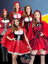 Sagolikt Lilla Rödluvan Klänningar Cosplay Kostymer / Dräkter Kappa Festklädsel Vuxna Dam Jul Halloween Karnival Festival / högtid Polyester Ljusröd / Mörkröd / Vit+Röd Dam Karnival Kostymer Lappverk