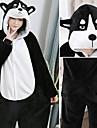 Vuxna Kigurumi-pyjamas Husky Onesie-pyjamas Flanell Svart / Vit Cosplay För Herr och Dam Pyjamas med djur Tecknad serie Festival / högtid Kostymer