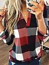 여성용 플러스 사이즈 블라우스 셔츠 체크무늬 체크 긴 소매 V 넥 탑스 푸른 루비 그레이