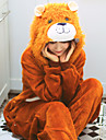 Adults\' Kigurumi Pajamas Lion Onesie Pajamas Flannelette Brown Cosplay For Men and Women Animal Sleepwear Cartoon Festival / Holiday Costumes
