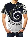 Men\'s Plus Size T-shirt Graphic Print Short Sleeve Tops Basic Round Neck Black / Summer