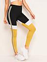 Dam Yoga byxor Färgblock Löpning Fitness Gym träning Underdelar Sportkläder Andningsfunktion Fuktabsorberande Snabb tork Butt Lift Elastisk