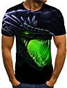 Men\'s Plus Size T-shirt Geometric 3D Animal Pleated Print Short Sleeve Tops Streetwear Round Neck Green / Summer