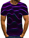 Men\'s Plus Size T-shirt Geometric Color Block 3D Print Short Sleeve Tops Streetwear Exaggerated Round Neck Purple