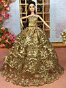 Dollklänning Fest / afton För Barbie Paljett Polyester Klänning För Flicka Dockleksak