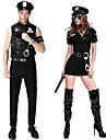 Polis Cosplay Kostymer / Dräkter Outfits Maskerad Vuxna Par Cosplay Halloween Halloween Festival / högtid Polyster Svart / Grå Par Karnival Kostymer
