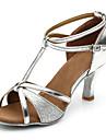 Mulheres Sapatos de Danca Latina Danca de Salao Sapatos de Salsa Line Dance Salto Salto Alto Magro Prata