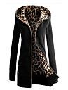 Women\'s Daily Fall & Winter Regular Jacket, Leopard Hooded Long Sleeve Polyester Black / Yellow / Royal Blue