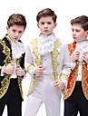 Prins Retro / vintage Medeltida kostymer Kappa Byxa Outfits Maskerad Pojkar Barn Kostym hatt Svart / Vit / Röd Vintage Cosplay Party Långärmad byxdress / Byxor / Krage / Krage / Byxor