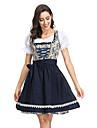 Oktoberfest Dirndl Trachtenkleider Dam Klänning Bavarian Kostym Blå